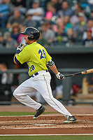 Right fielder Raphael Gladu (28) of the Columbia Fireflies bats in a game against the Augusta GreenJackets on Friday, April 6, 2018, at Spirit Communications Park in Columbia, South Carolina. Columbia won, 7-2. (Tom Priddy/Four Seam Images)