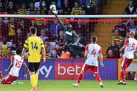 Joseph Anang of Stevenage FC makes a finger tip save during Stevenage vs Watford, Friendly Match Football at the Lamex Stadium on 27th July 2021