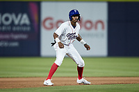 DJ Gladney (8) of the Kannapolis Cannon Ballers takes his lead off of second base against the Carolina Mudcats at Atrium Health Ballpark on June 9, 2021 in Kannapolis, North Carolina. (Brian Westerholt/Four Seam Images)