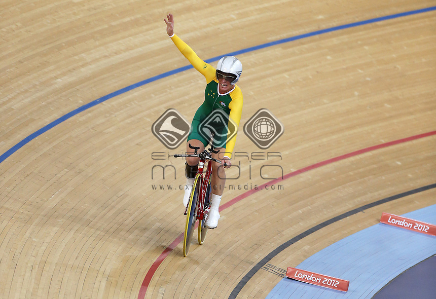 Susan Powell (AUS) celebrates after winning the Women's C4 Individual Pursuit.<br /> Track Cycling, Velodrome, Olympic Park (Thursday 29th Aug)<br /> Paralympics - Summer / London 2012<br /> London England 29 Aug - 9 Sept <br /> © Sport the library/Joseph Johnson