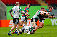 28th March 2021; Mattoli Woods Welford Road Stadium, Leicester, Midlands, England; Premiership Rugby, Leicester Tigers versus Newcastle Falcons; Jasper Wiese of Leicester Tigers is stopped by the Newcastle Falcons defence