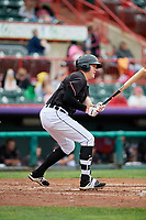 Erie SeaWolves first baseman Josh Lester (44) follows through on a swing during a game against the New Hampshire Fisher Cats on June 20, 2018 at UPMC Park in Erie, Pennsylvania.  New Hampshire defeated Erie 10-9.  (Mike Janes/Four Seam Images)
