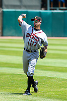 Quad Cities River Bandits outfielder Jonathan Lacroix (13) warms up in the outfield prior to a Midwest League game against the Kane County Cougars on July 1, 2018 at Northwestern Medicine Field in Geneva, Illinois. Quad Cities defeated Kane County 3-2. (Brad Krause/Four Seam Images)
