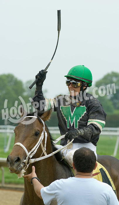 Rosemary Homeister Jr. aboard Hardly Dark Out winning at Delaware Park on 5/3/10