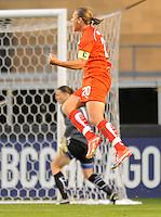 #20 Abby Wambach of the Washington Freedom celebrates after scoring the first goal of the game against the Chicago Red Stars . The Red Stars won the game 2-1