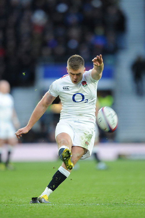 Owen Farrell of England converts his own try during the Guinness Six Nations match between England and France at Twickenham Stadium on Sunday 10th February 2019 (Photo by Rob Munro/Stewart Communications)