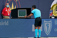 CHICAGO, UNITED STATES - AUGUST 25: A detail view of the MLS Video review monitor is seen as the head referee reviews a goal play scored by Fabian Herbers #21 of Chicago Fire for a potential offsides violation during a game between FC Cincinnati and Chicago Fire at Soldier Field on August 25, 2020 in Chicago, Illinois.