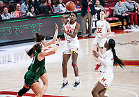 COLLEGE PARK, MD - DECEMBER 8: Diamond Miller #14 of Maryland throws over a  pass during a game between Loyola University and University of Maryland at Xfinity Center on December 8, 2019 in College Park, Maryland.