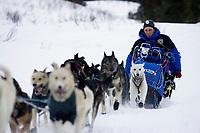 Jason Barron on Trail Leaving Rainy Pass Chkpt AK 2005 Iditarod