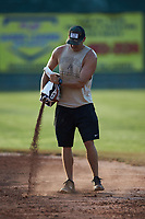 Mooresville Spinners General Manager Phil Loftin works on the infield prior to the game against the Concord Athletics at Moor Park on June 20, 2020 in Mooresville, NC.  The Spinners defeated the Athletics 11-1. (Brian Westerholt/Four Seam Images)