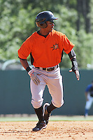 L.J. Hoes #28 of the Frederick Keys running the bases during a game against the Myrtle Beach Pelicans on May 2, 2010 in Myrtle Beach, SC.