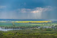 Gewitter über der Havel, Blick vom Aussichtsturm auf dem Götzer Berg, Groß Kreutz, Potsdam-Mittelmark, Brandenburg, Deutschland