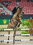 15 April 2009: Ben Maher and Robin Hood at the show jumping training session for the FEI World Cup Finals.