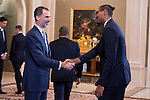 King Felipe VI of Spain and Trey Thompkins audience to <br /> the winner of basketball King's Cup 2017, Real Madrid at Zarzuela Palace in Madrid, Spain. March 06, 2017. (ALTERPHOTOS/BorjaB.Hojas)