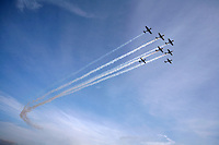 Aerostars Team flying Yak50 in formation at Rygge Airshow. Norway