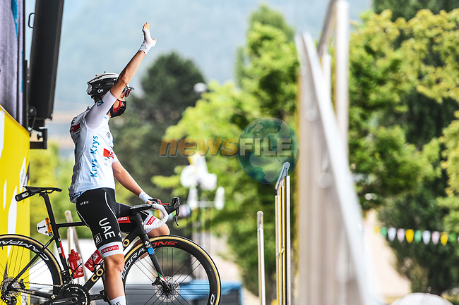 White Jersey Tadej Pogacar (SLO) UAE Team Emirates at sign on before the start of Stage 8 of the 2021 Tour de France, running 150.8km from Oyonnax to Le Grand-Bornand, France. 3rd July 2021.  <br /> Picture: A.S.O./Charly Lopez | Cyclefile<br /> <br /> All photos usage must carry mandatory copyright credit (© Cyclefile | A.S.O./Charly Lopez)