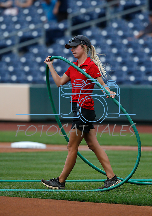Reno Aces head groundskeeper Leah Withrow prepares for a game against the Tacoma Rainiers, in Reno, Nev., on Friday, May 28, 2021. <br /> Photo by Cathleen Allison