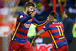FC Barcelona's Gerard Pique (l) and Neymar Santos Jr celebrate the victory in the Spanish Kings Cup Final match. May 22,2016. (ALTERPHOTOS/Acero)