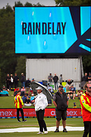 Security guard the field during a rain break on day three of the second International Test Cricket match between the New Zealand Black Caps and Pakistan at Hagley Oval in Christchurch, New Zealand on Tuesday, 5 January 2021. Photo: Dave Lintott / lintottphoto.co.nz