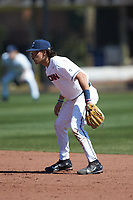 Connecticut Huskies second baseman Christian Fedko (7) on defense against the Miami Redhawks at Springs Brooks Stadium on March 5, 2021 in Conway, South Carolina. The Huskies defeated the Redhawks 5-0. (Brian Westerholt/Four Seam Images)