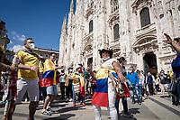 Colombian fans celebrating Egan Bernal's win in front of the Duomo in Milano<br /> <br /> 104th Giro d'Italia 2021 (2.UWT)<br /> Stage 21 (final ITT) from Senago to Milan (30.3km)<br /> <br /> ©kramon