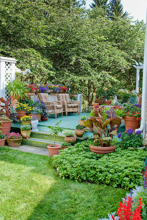 Backyard deck landscaping outdoor room with container garden plants such as marigolds, canna, petunias, sweet potato vines, with comfortable patio furniture for outdoor living, fence, steps, variety of pots