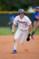 Pitt Panthers Nico Popa (1) running the bases during the teams opening game of the season against the Indiana State Sycamores on February 19, 2021 at North Charlotte Regional Park in Port Charlotte, Florida.  (Mike Janes/Four Seam Images)