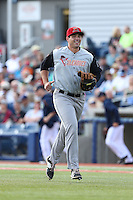 Christopher Shaw (43) of the Salem-Keizer Volcanoes in the field during a game against the Hillsboro Hops at Ron Tonkin Field on July 26, 2015 in Hillsboro, Oregon. Hillsboro defeated Salem-Keizer, 4-3. (Larry Goren/Four Seam Images)
