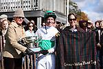 Jockey Jody Petty accepts The Genesee Valley Hunt Cup trophy during the Genesee Valley Hunt Races held at The Nations Farm in Geneseo, NY.
