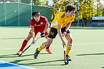 Mannheim, Germany, October 25: During the 1. Bundesliga men fieldhockey match between Mannheimer HC (red) and Harvestehuder THC (yellow) on October 25, 2020 at Am Neckarkanal in Mannheim, Germany. Final score 6-4 (HT 2-3). (Copyright Dirk Markgraf / www.265-images.com) *** Tobias Hauke #13 of Harvestehuder THC