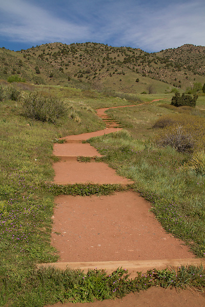 Hiking trail in Red Rocks State Park, Golden, Colorado, .  John leads private photo tours in Boulder and throughout Colorado. Year-round.