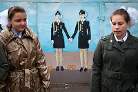 RUSSIA, Moscow, 09.2011. ©  Sergey Kozmin/EST&OST.The Moscow Girls Cadet Boarding School. Motivating wall paintings.
