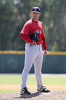 Boston Red Sox minor league player Michael Bugary during a spring training game vs the Baltimore Orioles at the Buck O'Neil Complex in Sarasota, Florida;  March 22, 2011.  Photo By Mike Janes/Four Seam Images