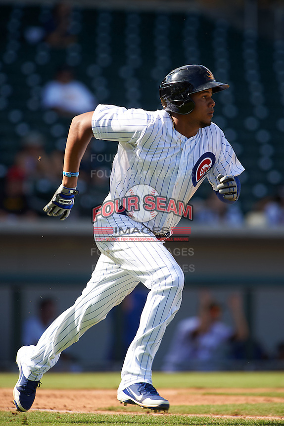 Mesa Solar Sox third baseman Jeimer Candelario (6) during an Arizona Fall League game against the Glendale Desert Dogs on October 14, 2015 at Sloan Park in Mesa, Arizona.  Glendale defeated Mesa 7-6.  (Mike Janes/Four Seam Images)