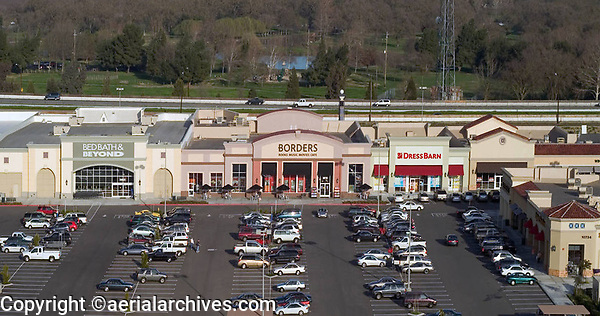 aerial photograph of Borders, Bed Bath & Beyond and Stockton California shopping mall