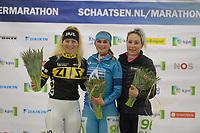 SCHAATSEN: HEERENVEEN: IJsstadion Thialf, Marathonschaatsen, uitslag dames, Marijke Groenewoud (2), Irene Schouten (1), Francesca Lollobriga (3), ©foto Martin de Jong