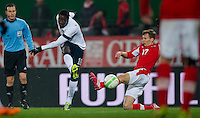 VIENNA, Austria - November 19, 2013: Eddie Johnson and Austria's Florian Klein during a 0-1 loss to host Austria during the international friendly match between Austria and the USA at Ernst-Happel-Stadium.