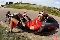 Mike Burrows riding his own design Ratcatcher recumbent HPV<br /> Hillingdon circuit, Hillingdon, London  September 2009<br /> pic copyright Steve Behr / Stockfile