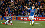 Lewis Macleod scores the opening goal for Rangers and celebrates