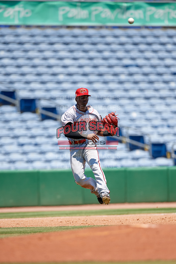 Florida Fire Frogs third baseman Kevin Josephina (20) throws to first base during a Florida State League game against the Clearwater Threshers on April 24, 2019 at Spectrum Field in Clearwater, Florida.  Clearwater defeated Florida 13-1.  (Mike Janes/Four Seam Images)