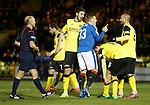 Martyn Waghorn gets booked after falling in thje box