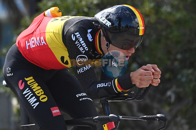 Belgian Champion Wout Van Aert (BEL) Team Jumbo-Visma recons Stage 7 of Tirreno-Adriatico Eolo 2021, an individual time trial running 10.1km around San Benedetto del Tronto, Italy. 16th March 2021. <br /> Photo: LaPresse/Marco Alpozzi   Cyclefile<br /> <br /> All photos usage must carry mandatory copyright credit (© Cyclefile   LaPresse/Marco Alpozzi)