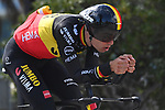 Belgian Champion Wout Van Aert (BEL) Team Jumbo-Visma recons Stage 7 of Tirreno-Adriatico Eolo 2021, an individual time trial running 10.1km around San Benedetto del Tronto, Italy. 16th March 2021. <br /> Photo: LaPresse/Marco Alpozzi | Cyclefile<br /> <br /> All photos usage must carry mandatory copyright credit (© Cyclefile | LaPresse/Marco Alpozzi)