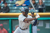 James Jones (9) of the Tacoma Rainiers at bat against the Salt Lake Bees in Pacific Coast League action at Smith's Ballpark on May 7, 2015 in Salt Lake City, Utah.  (Stephen Smith/Four Seam Images)