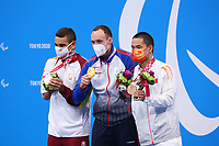 26th August 2021; Tokyo, Japan; Silver medalist SALGUERO GALISTEO Oscar (ESP), gold medalist KALINA Andrei (RPC), and bronze medalist YANG Guanglong (CHN) celebrate on the podium for the Swimming :  Men's 100m Breaststroke - SB8 Fina - Medal Ceremony on August 26, 2021 during the Tokyo 2020 Paralympic Games at the Tokyo Aquatics Centre in Tokyo, Japan.