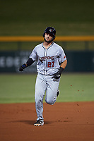 Scottsdale Scorpions Joey Bart (27), of the San Francisco Giants organization, rounds the bases after hitting his first home run of the game during an Arizona Fall League game against the Mesa Solar Sox on September 18, 2019 at Sloan Park in Mesa, Arizona. Scottsdale defeated Mesa 5-4. (Zachary Lucy/Four Seam Images)