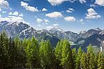 Austria, Tyrol, Pertisau: view from mountain Inn Karwendel into Karwendel mountains | Oesterreich, Tirol, Pertisau: Blick vom Alpengasthaus Karwendel ins Karwendelgebirge