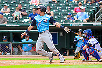 Colorado Springs Sky Sox shortstop Dylan Moore (13) swings at a pitch during a Pacific Coast League game against the Iowa Cubs on June 23, 2018 at Principal Park in Des Moines, Iowa. Colorado Springs defeated Iowa 4-2. (Brad Krause/Four Seam Images)