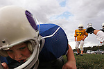 CHAD PILSTER •Hays Daily News<br /> <br /> Ashton Putz, 8, does a drill where he dives onto a pad on Tuesday, September 10, 2013, during practice of the third grade Gamblers of the Hays Football Association  at Aubel-Bickle Park in Hays, Kansas.