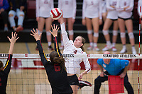 STANFORD, CA - November 15, 2017: Meghan McClure at Maples Pavilion. The Stanford Cardinal defeated USC 3-0 to claim the Pac-12 conference title.